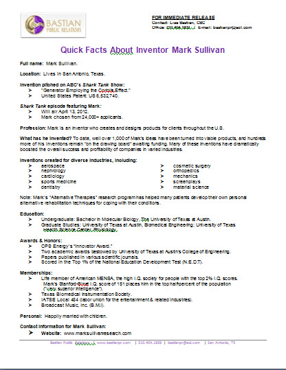 mark sullivan fact sheet